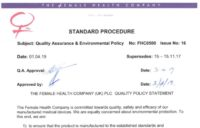 Quality Assurance & Environmental Policy