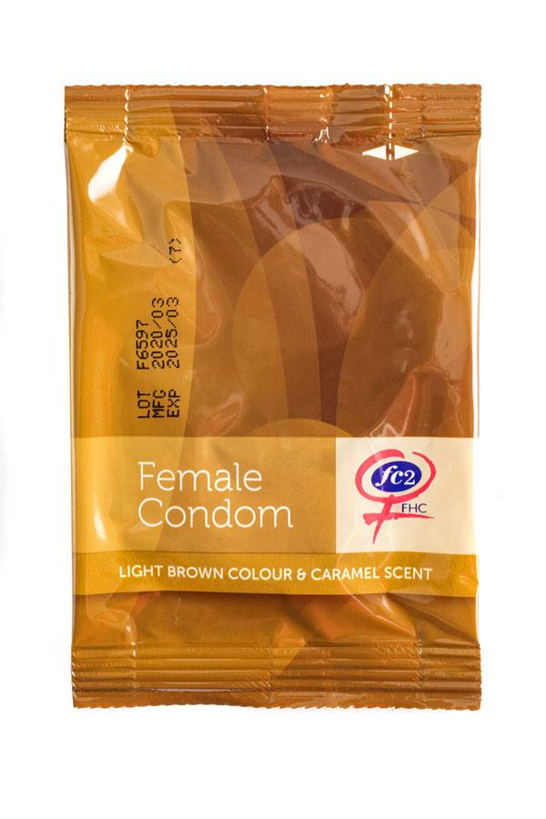 FC2 Female Condom, light brown, individual package, front