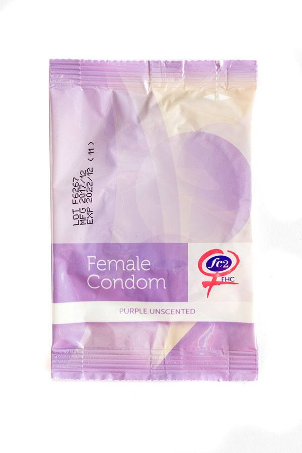 FC2 Female Condom, purple, individual package, front