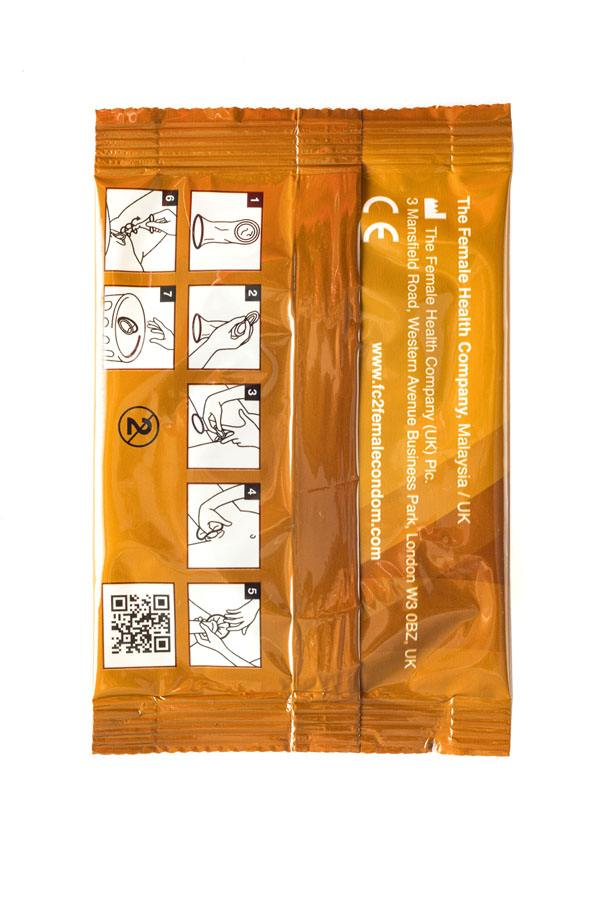 FC2 Female Condom, light brown, individual package, back