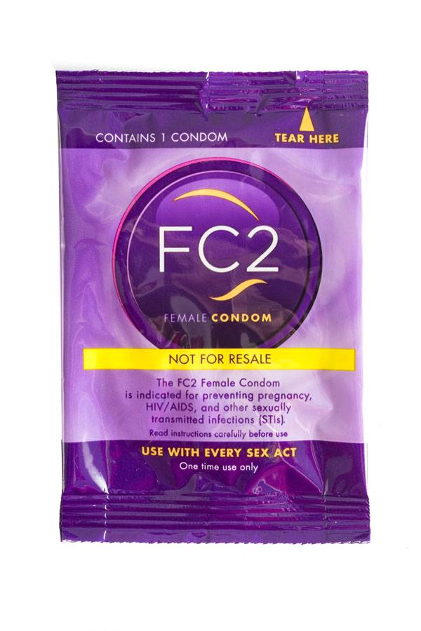 FC2 Female Condom, clear, individual Not for Resale package, front