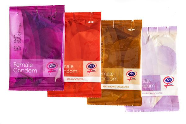 FC2 Female Condom, group product shot, purple, red, light brown, clear, in individual packages