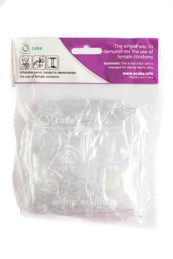 FC2 Female Condom O-Cube in packaging, back